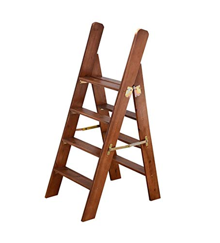 Escalera portátil de 4 peldaños, Escalera de Tijera, Escaleras de escaleras de Madera para sillas de casa para niños y Adultos, Herramienta de jardín para el hogar, Máx. 150kg en marrón