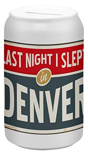 LEotiE SINCE 2004 Spardose Sparbüchse Geld-Dose Wiederverschließbar Farbe Weiß Stadt Denver USA Keramik Bedruckt