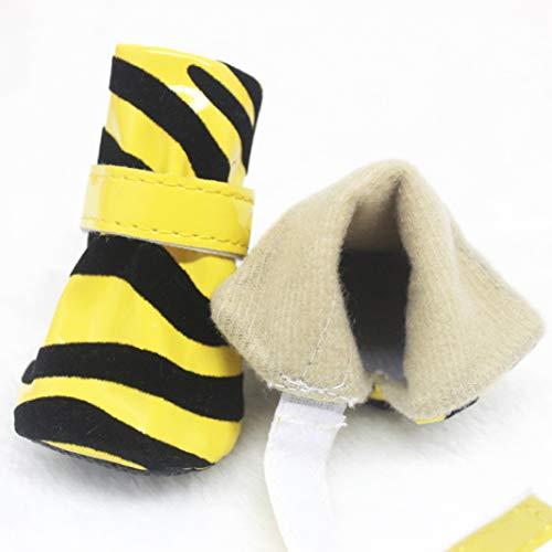 Mann Boot Kostüm Im Kleiner - AMURAO Freizeit Kleine Hundeschuhe Stripe Resistant to Dirt Pet Boot für Teddy Winter Working Dogs Schneeschuhe