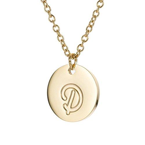 AOLOSHOW Edelstahl Graviert Scheibe Halskette mit Initialen D 14k Gold Initial Halskette 14k Gold