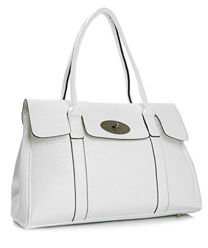 Big Handbag Shop - Borsa a tracolla donna Bianco (bianco)