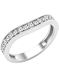 Dazzlingrock Collection Anillo de boda con piedras redondas y diamantes blancos, apilable, oro blanco de 14 quilates