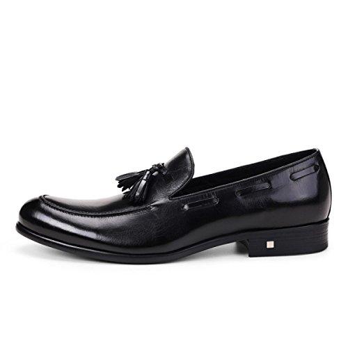 GRRONG Chaussures En Cuir Pour Homme En Cuir Véritable Costumes D'affaires Chaussures De Mariage Confortable Black
