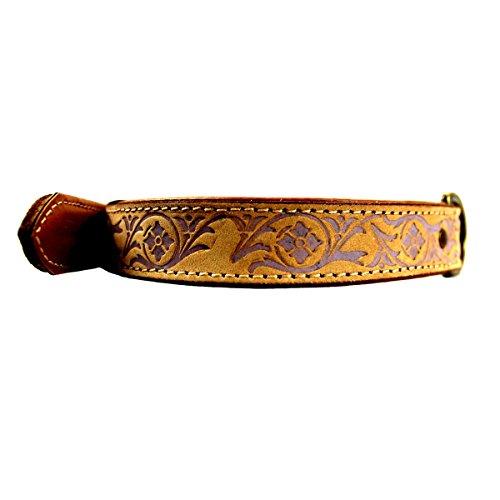 MICHUR CREEK, Hundehalsband, Lederhalsband, Halsband, BEIGE, LEDER, fliederbarbene Stanzungen, in verschiedenen Größen erhältlich - 5
