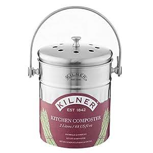 Kilner - Compostiera da Cucina, in Acciaio Inox, 2 l, Colore: Argento