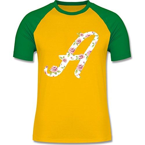 Anfangsbuchstaben - A Rosen - zweifarbiges Baseballshirt für Männer Gelb/Grün