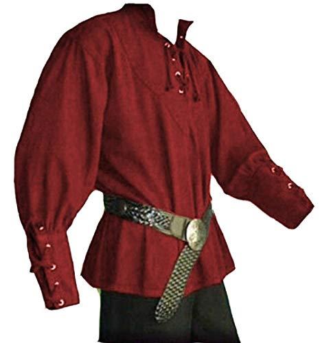 Heflashor Herren Mittelalter Hemd Steampunk Lange Ärmel Schnürhemd Gothic Blusen Renaissance Jacke Cosplay Viktorianisch Uniform Ohne Gürtel (Männer Renaissance Kleidung)