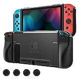 MoKo Funda Protectora Compatible con Nintendo Switch y Mando Joy, Estuche de Decoración Anti-caída/Rasguños, Caja Protectora Completa TPU Resistente con 4 Tapas de Joystick - Claro + Negro