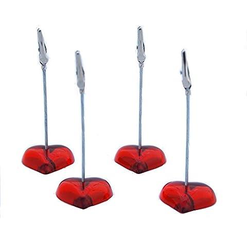 Memo Clips/pinzas de cocodrilo/sujetanotas/Note soportes Soportes para tarjetas/Foto/Soportes (6unidades), diseño con texto en Corazón