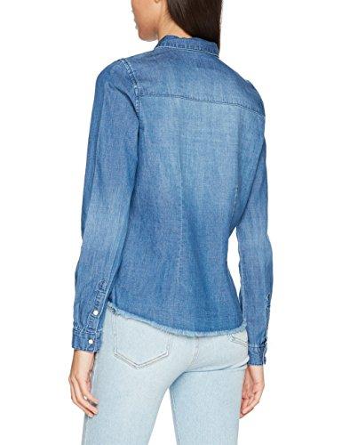 ONLY Damen Hemd Onlrock It Fit Ls Raw Embb Dnm Shirt Qyt Blau (Medium Blue Denim)