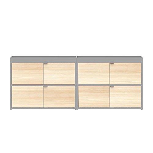 HAY New Order Sideboard mit Türen 200x79.5cm, Hellgrau Esche Lackiert mit 4 Holztüren