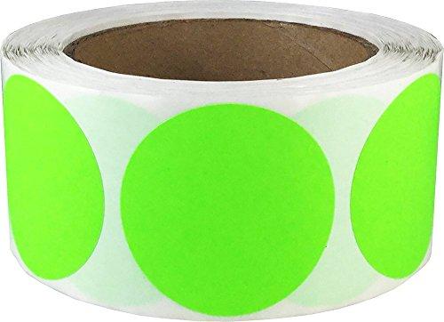 Fluoreszierend Grün Kreis Punkt Aufkleber, 51 mm 2 Zoll Runde, 500 Etiketten auf einer Rolle