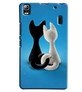 Blue Throat Black And White Cat Hard Plastic Printed Back Cover/Case For Lenevo K3 Note