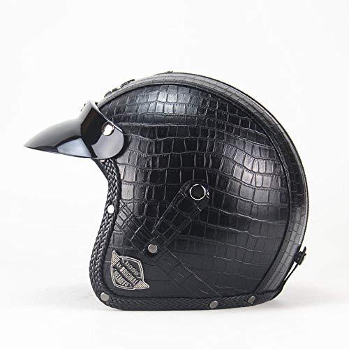 Motorradhelm, Kunstleder, 3/4-Motorrad-Helm, offenes Gesicht, Vintage-Stil, Karomuster, Braun, M YXTOUK (Farbe: VS Plaid Schwarz) (Plaid-karomuster)