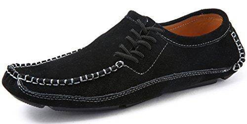 Eagsouni Homme l'Élégant Mocassins À Enfiler Chaussures Bateau en Cuir Suédé Noir