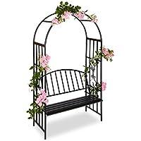 Relaxdays Arche à roses pour jardin avec banc 2 métal en métal arceau colonne décoration HxlxP: 205 x 115 x 50 cm, noir