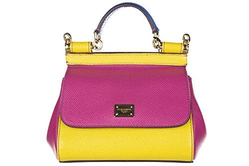 Dolce&Gabbana borsa donna a mano shopping in pelle nuova dauphine sicily fucsia