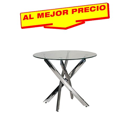 MESA DE COMEDOR REDONDA CRISTAL , CROMADA MODELO LOWER 90 CM - OFERTAS HOGAR -¡AL MEJOR PRECIO!