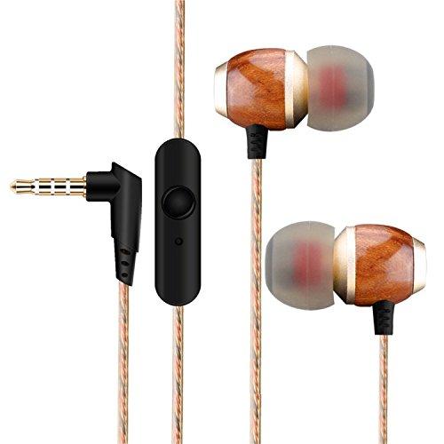 zanasta Kopfhörer In-Ear Stereo Headset Premium Ohrhörer mit Mikrofon Knickschutz Kabel und Holz Gehäuse   3,5mm Klinkenstecker (Klinke) Braun