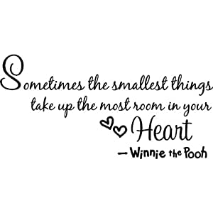 """winnie the pooh quote wall art words sticker """"sometimes the smallest things takes up the most room in your heart."""" nursery wall saying decal art lettering for baby kids bedroom decor vinyl wallpaper gift - 58cm x 28cm black"""