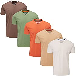 Charles Wilson 5er Packung Einfarbige T-Shirts mit V-Ausschnitt (3X-Large, Mixed Earth)