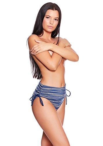 Trendige Damen Schwimm - Strand Bademode Badeslip Bikinihose Slip Badehose Panty Bauchweg Slip verschiedene Varianten Größen f5417 Slip Blue Grey Print S16(1304)