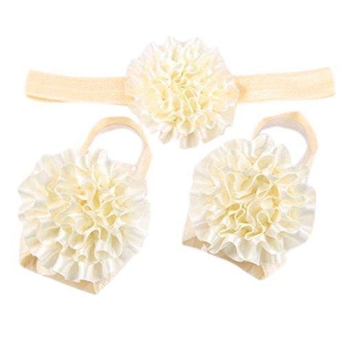 Bandeau Bébé Fille Cheveux élastique avec Fleur de Cheville Cadeau Douche Beige