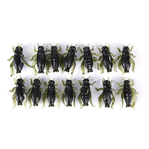 7thLake 20 Stücke Insekt Weiche Angelköder 2,5 cm Ultraleicht Cricket Gefälschte Köder Simulation Köder