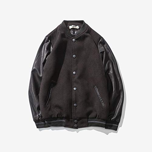 EVNGA Herren Kragen Jacke Herbst Winter Freizeit Farbe Leder Ärmel Jugend Jacke Baseball Anzug, Schwarz, 6XL