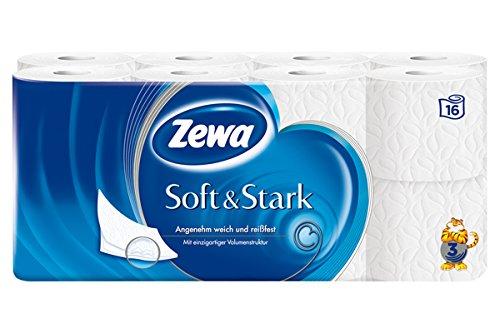 Zewa Soft und Stark Toilettenpapier, weiches, reißfestes WC-Papier 3-lagig, 1 x Vorratspack mit 16 Rollen