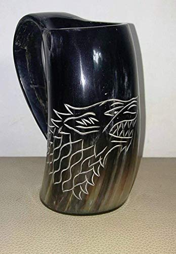Asmara - Nautical Jug with Game of Thrones Wolf design, Carved with Viking Horn, for Beer, Wine