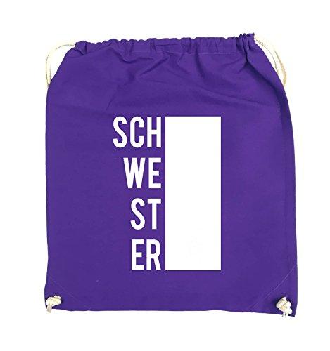 Comedy Bags - SCHWESTER - BLOCK - Turnbeutel - 37x46cm - Farbe: Schwarz / Pink Lila / Weiss