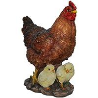 Vivid Arts gallina con pollitos de pie, ornamento de resina (Tamaño B)