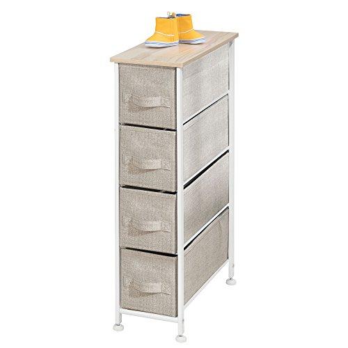 mDesign Cajonera de tela – Práctico mueble cómoda con 4 cajones – Estrecho sistema de almacenamiento para el dormitorio, la habitación o el lavadero – Armario con cajones – beis