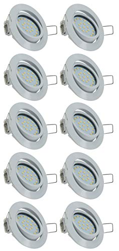 ChiliTec LED Deckenspot Einbauleuchte Einbauspot 4Watt 330 Lumen warmeiß 3000k 26mm tief Ø Loch 71mm schwenkbar 230V sehr flach leichte Montage (10 Stück) 330 Audio