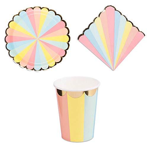 Luck and Luck Rainbow Circus Partyset Teller, Becher, Servietten für 8 Personen (Servietten Teller Und Rainbow)