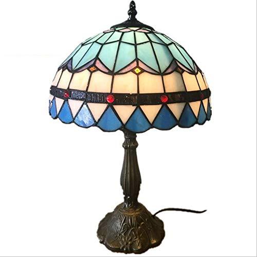 Glas Öl Lampe Schatten (AWER 12 Zoll Tiffany Tischlampe Blau Und Weiß Farbe Glas Tischlampe Europäischen Landhausstil Tischlampe Handgefertigten Lampenschirm Nachttischlampe)