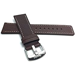 28mm, Brown Genuine Leather Watch Band Strap, Comes in Black or Tan, With White Stitching