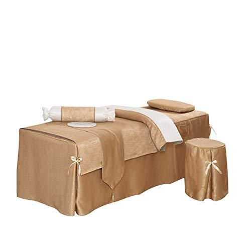 Eachann-Hsi Seide Hanf Massage Bett Therapie Bettdecke 4-teiliges Set Schönheitssalon Bettdecke, Bogen Design Bett Röcke Bettbezug (Mit Füllstoff) Kissenbezug Stuhlabdeckung,B -