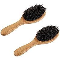 Frcolor 2 unids Jabalí Natural Bristle Hair brush Anti-estática Desenredar el cuero cabelludo del masaje del peine.