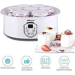 MVPower Yaourtière Électrique Avec Écran LCD,Thermostat Réglable et Minuteur,7 Pots Yaourt à Boire Fromage Frais Crème Dessert 20W