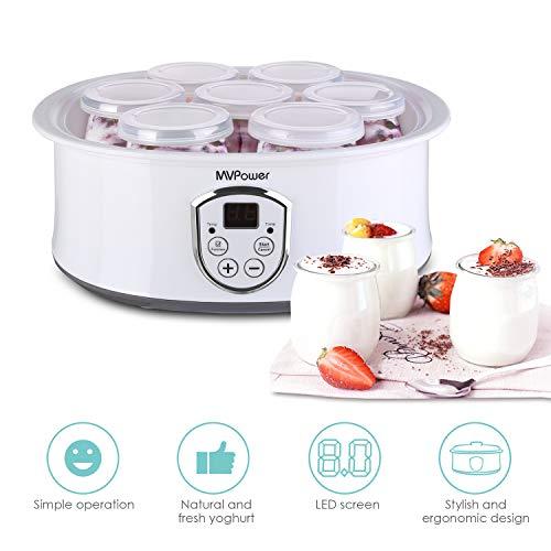 MVPower Joghurtbereiter elektrischer Joghurt-Maker joghurtmaschine mit LCD Display/Temperaturregelung/Timer/einfach zu reinigen/Überhitzungsschutz/Edelstahlrahmen/7 Gläsern(180ml/stück) - Joghurt-gläser Glas