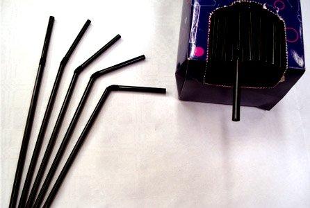 Knick-Trinkhalme aus Kunststoff, 20,3 cm, Schwarz, 250 (Halloween Partyware)