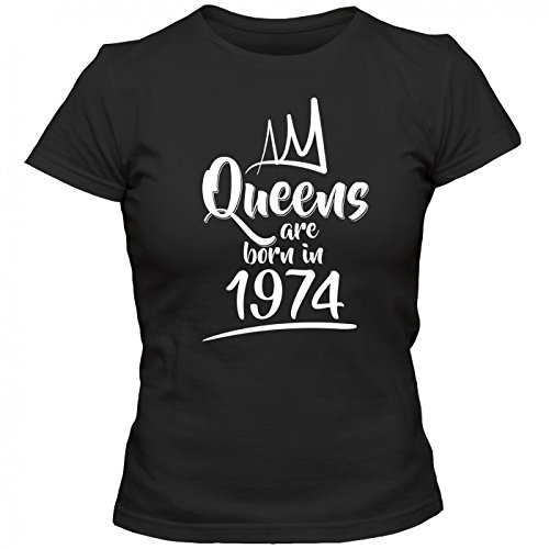 Queens are born in 1974 T-Shirt | Geburtstags-Shirt | Jahrgang | 43. Geburtstag | Frauen | Shirt Schwarz (Deep Black L191)