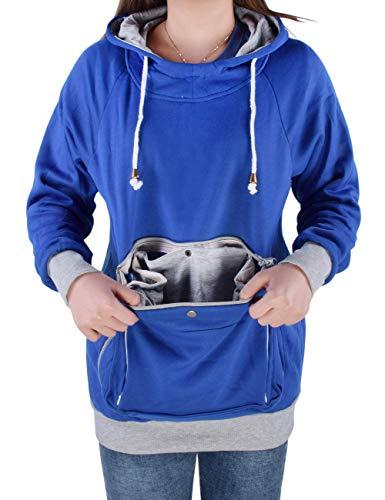 besbomig Sudadera de Mujer Sweatshirt Camisa Hoodie con Orejas - Gran Bolsillo con Capucha para Perro Gato Transportador de Mascotas Manga Larga Pullover Pet Carrier
