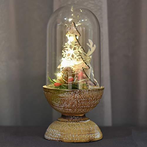 Valery Madelyn 17CM Kunsstoff Kuppel Weihnachtsdeko Glocke Weihnachten Beleutung Dekoration In den Wald Thema Lampe Batteriebetrieben mit LED Lichterkette und Holzboden