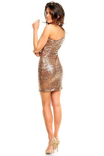 Paillettenkleid de soirée robe de soirée à dos nu avec paillettes brodé one shoulder braun