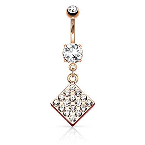 HBJ Unisex Bananabell Piercing all'ombelico diamante in acciaio inox ottone Zirconia cancella N15484, Placcato oro, (Cancella Ottone)