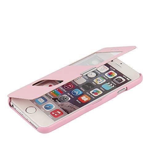 MTRONX für Apple iPhone 6s Hülle, iPhone 6 Hülle, Dual Fenster-Ansicht Magnetisch Schutzhülle Tasche Etui Klapphülle Twill PU Leder Dünn Folio Flip Case Cover - Rosa(MG2-PK) (Iphone 6 Wallet Schieben)