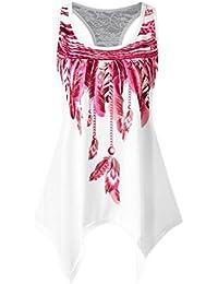 Mujeres camiseta,Beikoard El panel de encaje casual para mujer de la moda asimétrica estampado